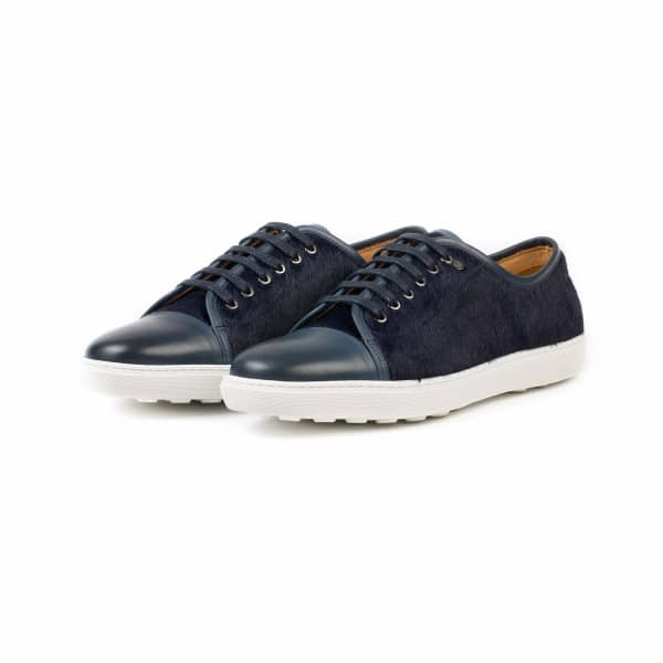 DONHALL & BELL Redchurch Calf Hair Luxury Sneaker Navy