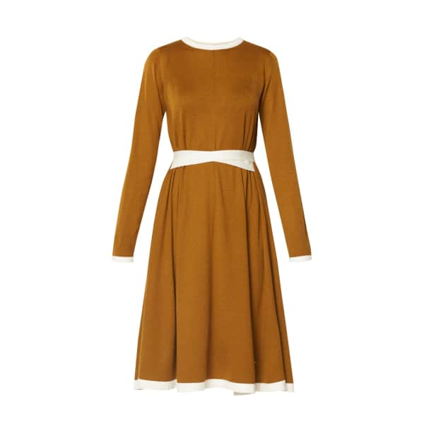 PAISIE Knitted Dress With Contrast Edges & Waist Ties In Mustard & White