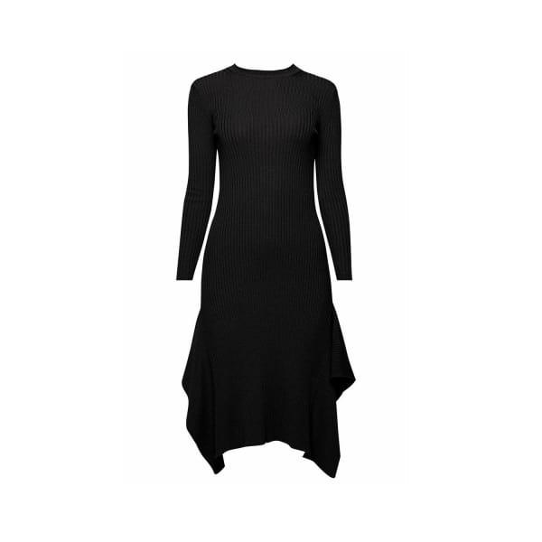 RUMOUR LONDON Alexa Asymmetric Ribbed Wool Midi Dress In Black