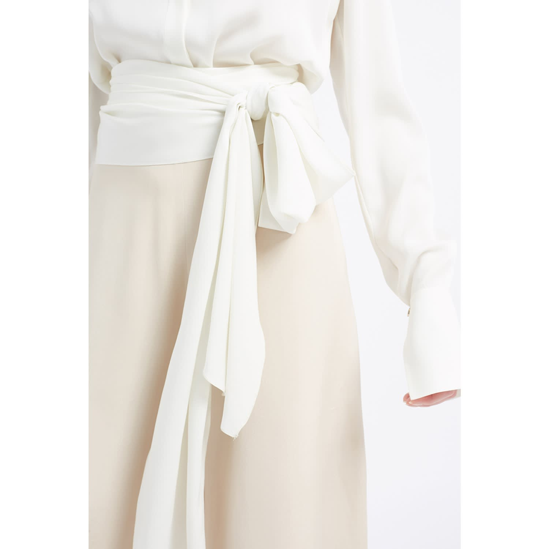 bc2f15bc972a Alexandra White Tie Waist Silk Blouse image