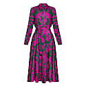 Avia Floral Printed Pink Green Midi Shirt Dress image