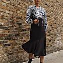Satin Jacquard Asymmetric Midi Skirt image