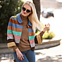 Suede Leather Short Striped Jacket - Pastel Colour Wave image