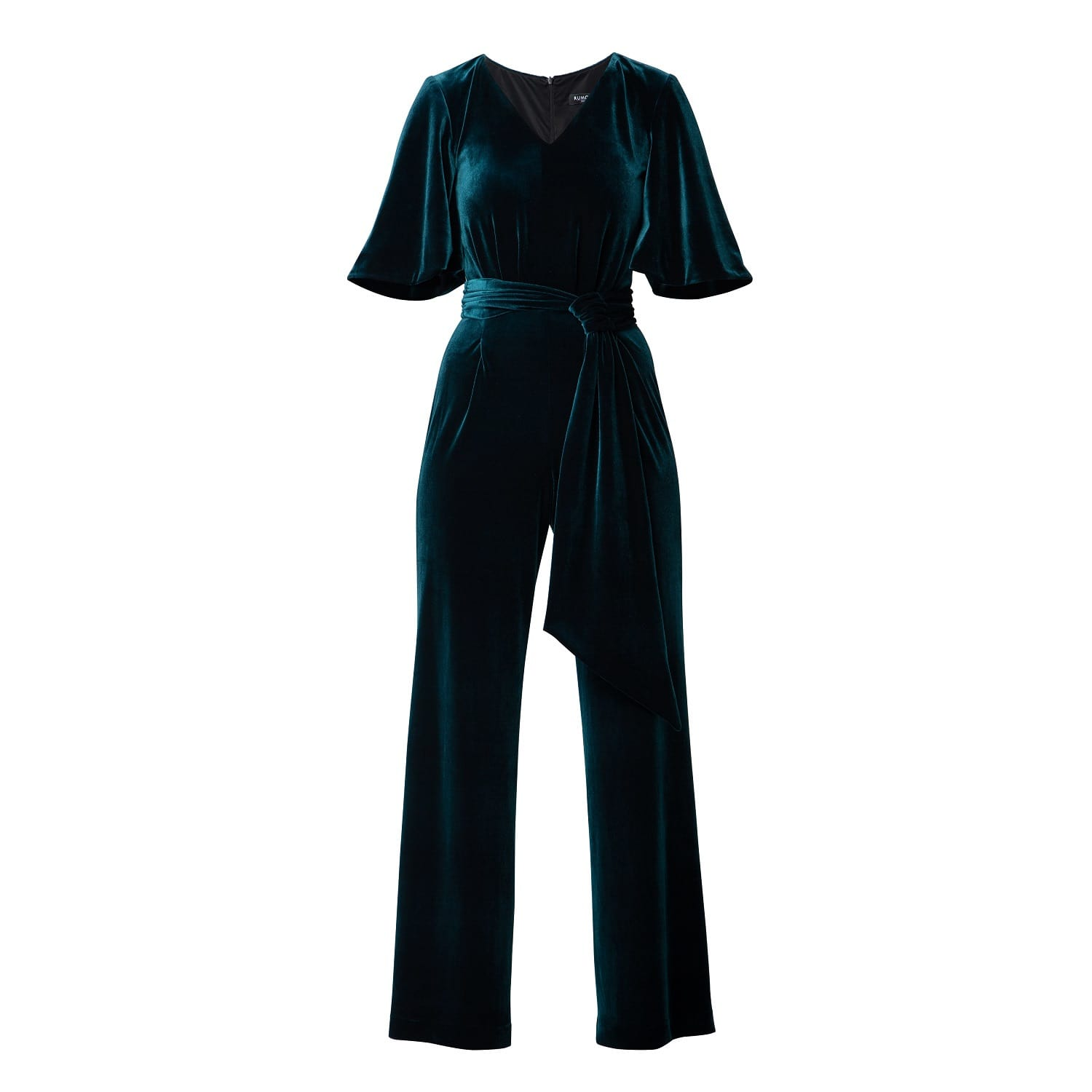 96b20c14c4212 Layla Velvet Jumpsuit With Bell Sleeves & Sash In Emerald Green ...