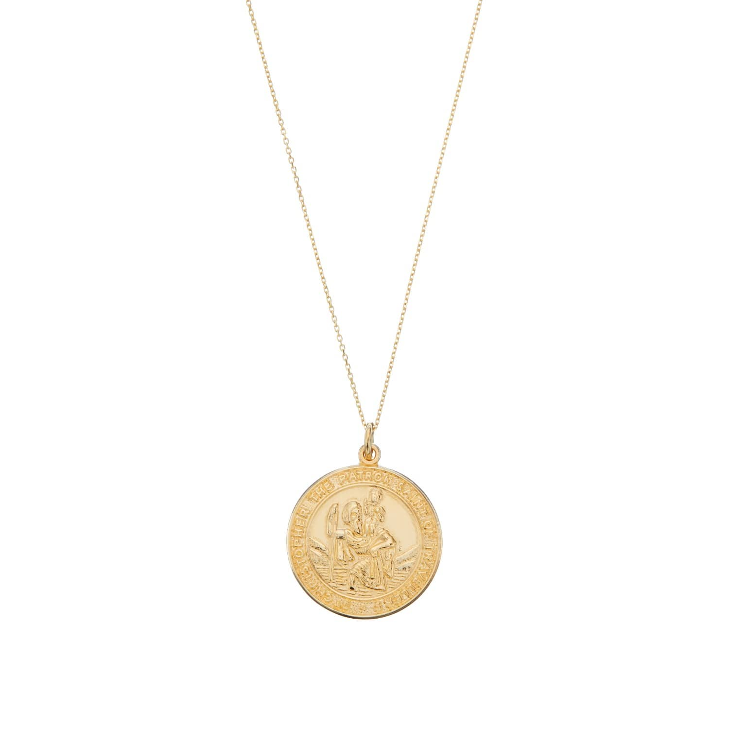 Solid Gold Large St Christopher Medallion Necklace image
