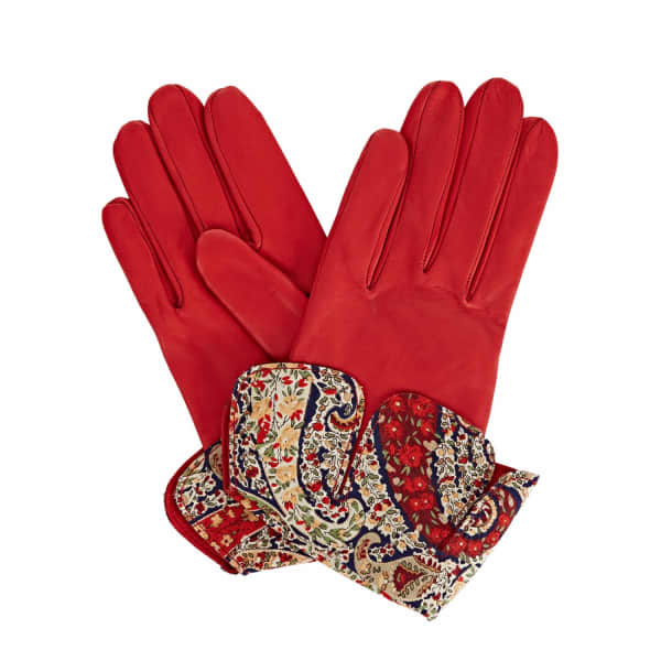 GIZELLE RENEE Palesa Red Leather Gloves With Bf Liberty Tana Lawn