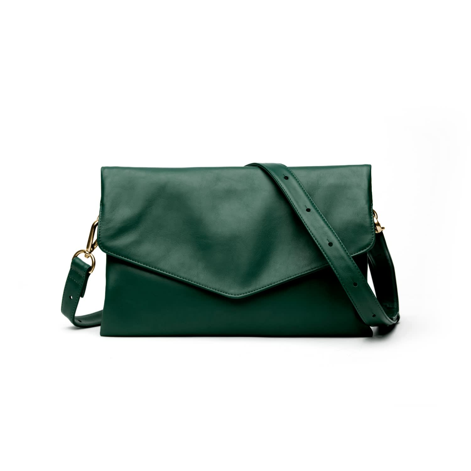 3eacdd73f1e Explorer Leather Crossbody Clutch In Emerald | Holly & Tanager ...