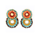 Multicolored Hand Made Crochet Small Double Hoops Earrings image