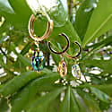 Swarovski Beetle Daisy Flower Pearl Hoop Earrings 18k Gold image