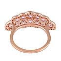 18K Rose Gold Designer Ring Pink Sapphire Diamond Jewelry image