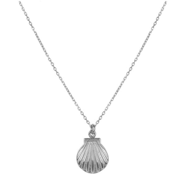 Mini Scallop Shell Necklace Silver by Latelita