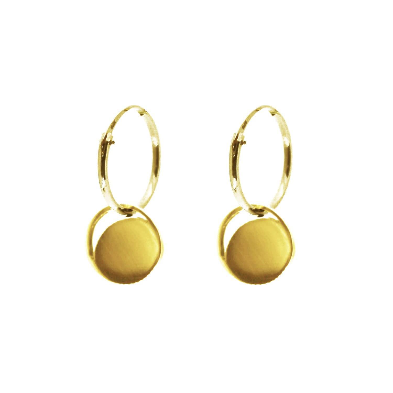 47ad957d37d280 Mini Gold Crescent Lune Disc Hoop Earrings | KIND Jewellery | Wolf ...