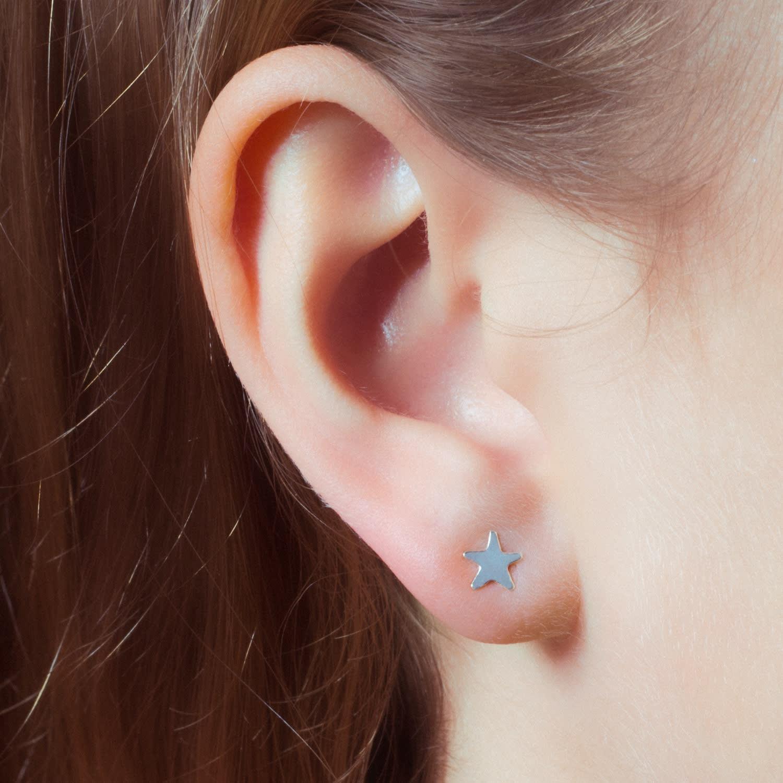 f02fe27bc Moon & Star Stud Earrings & Ear Jackets Sterling Silver | Lucy ...