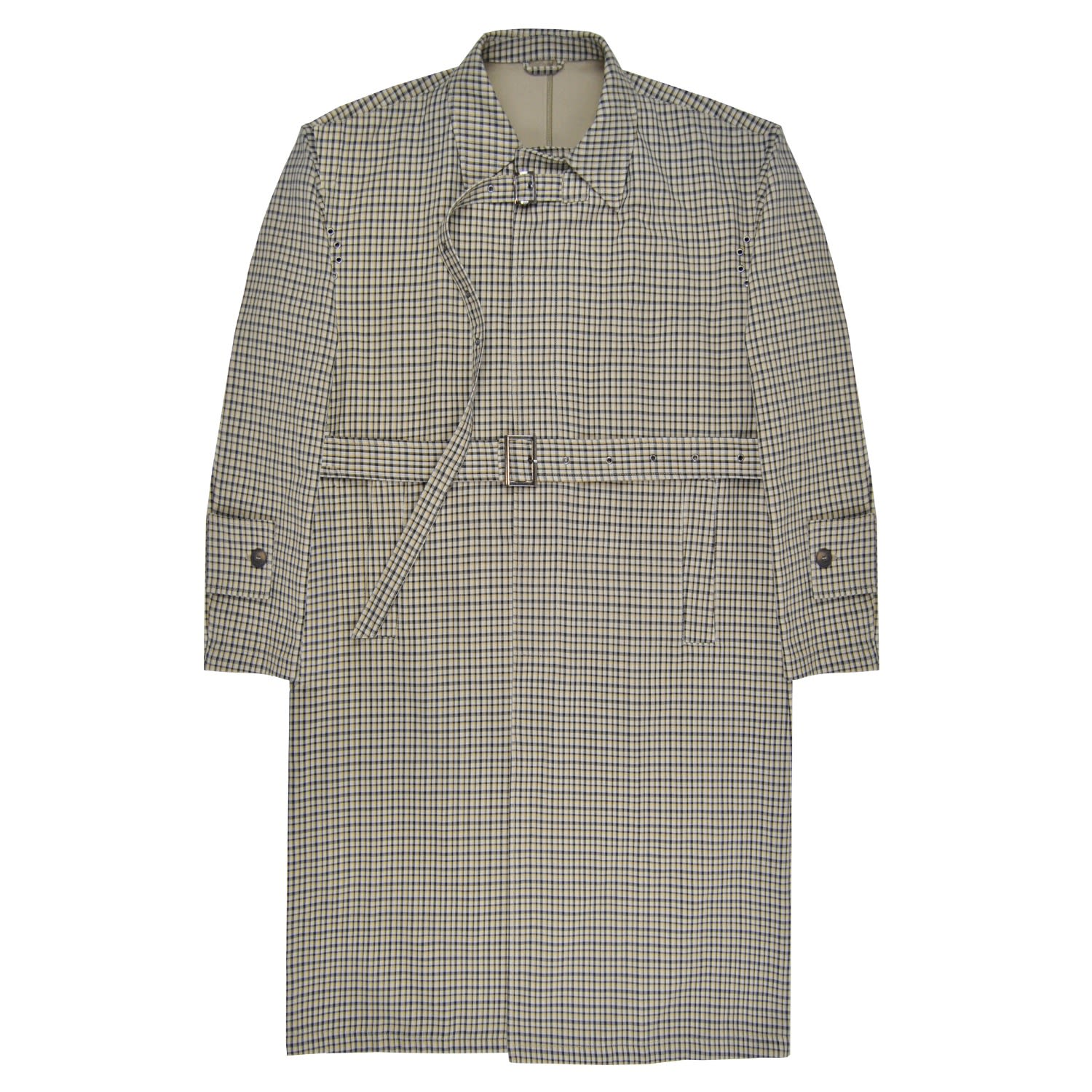 DUARTE - Long Beige Checked Padded Trench Coat