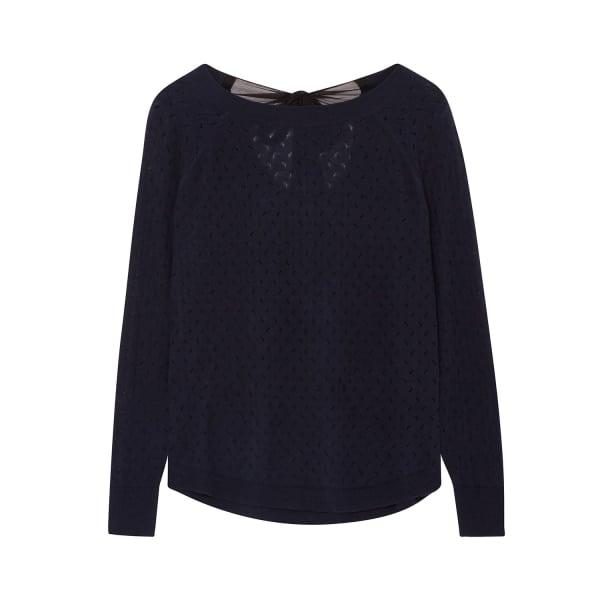 ILLE DE COCOS Fantasy Bow Sweater Navy & Black
