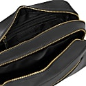 The Double-Up Black Leather Wash Bag 3 Zip image
