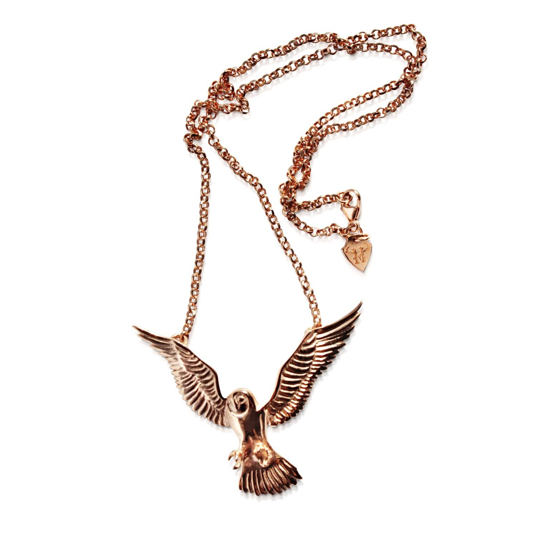 Owl Necklace Rose Gold Hj 228 Lte Jewellery Wolf Amp Badger