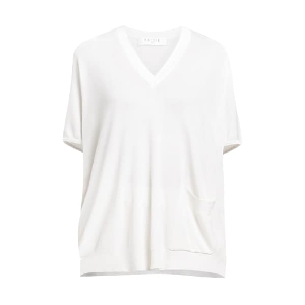 Paisie Wide Knitted V-Neck Top with Front Pocket in White