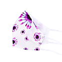 Two-Sided White & Daisy Print Silk Face Mask image
