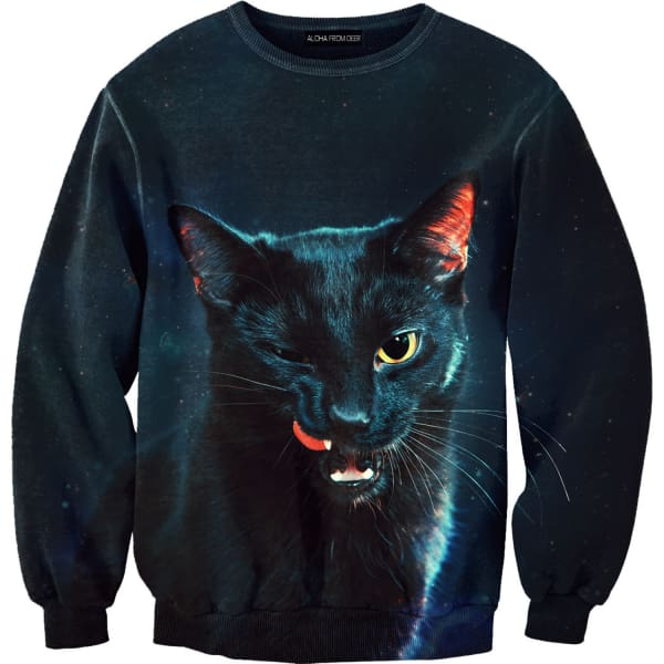 black cat sweater aloha from deer wolf badger. Black Bedroom Furniture Sets. Home Design Ideas