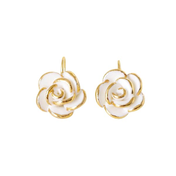 POPORCELAIN Golden White Cloud Rose Hook Earrings