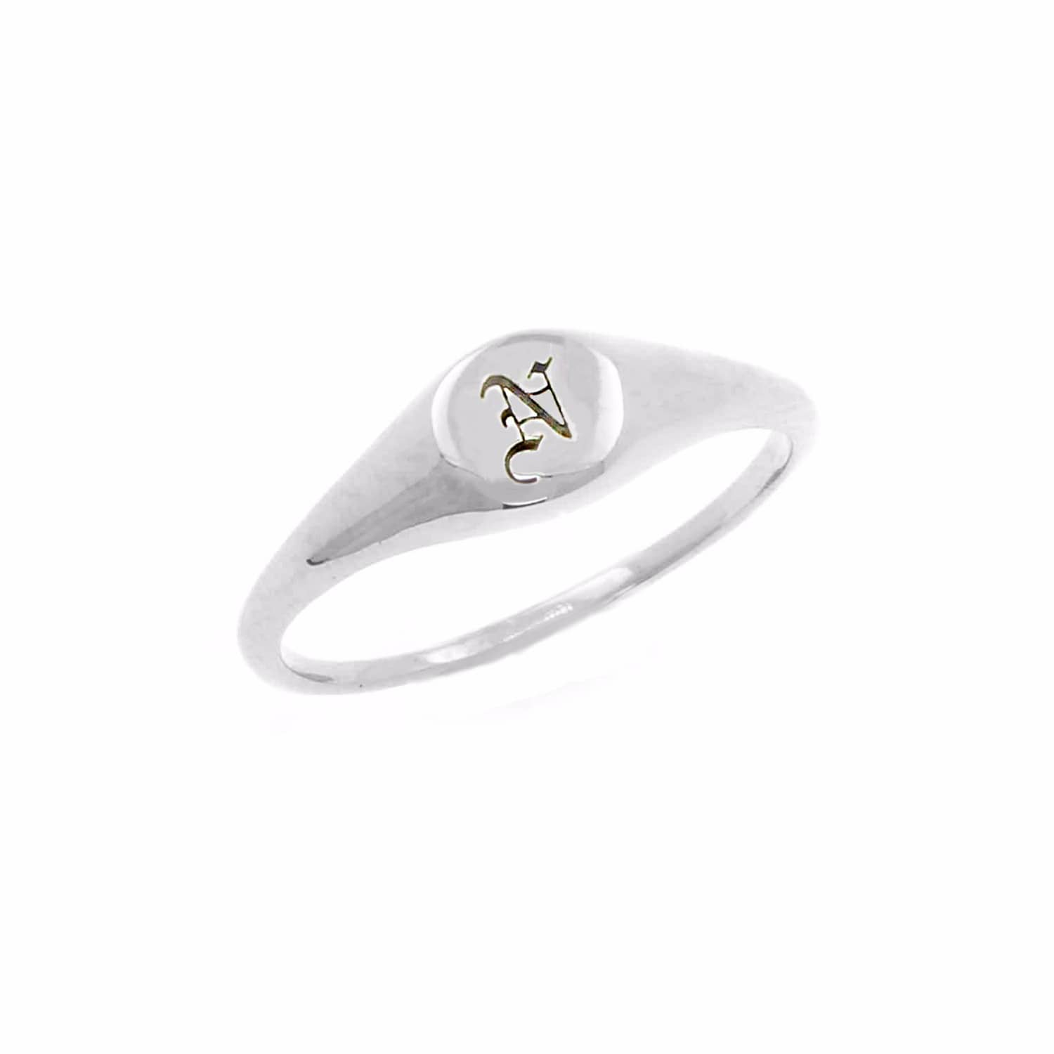 image silver wolf no initial badger ring mini signet uk