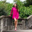 Berry Pink Silk Mini Bow Dress image