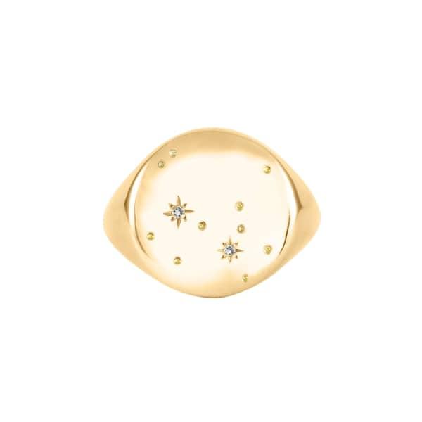 NO 13 Sagittarius Constellation Signet Ring Diamonds & 9ct Gold