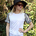 White Blouse With Satin Polka Dot Puffed Sleeves image