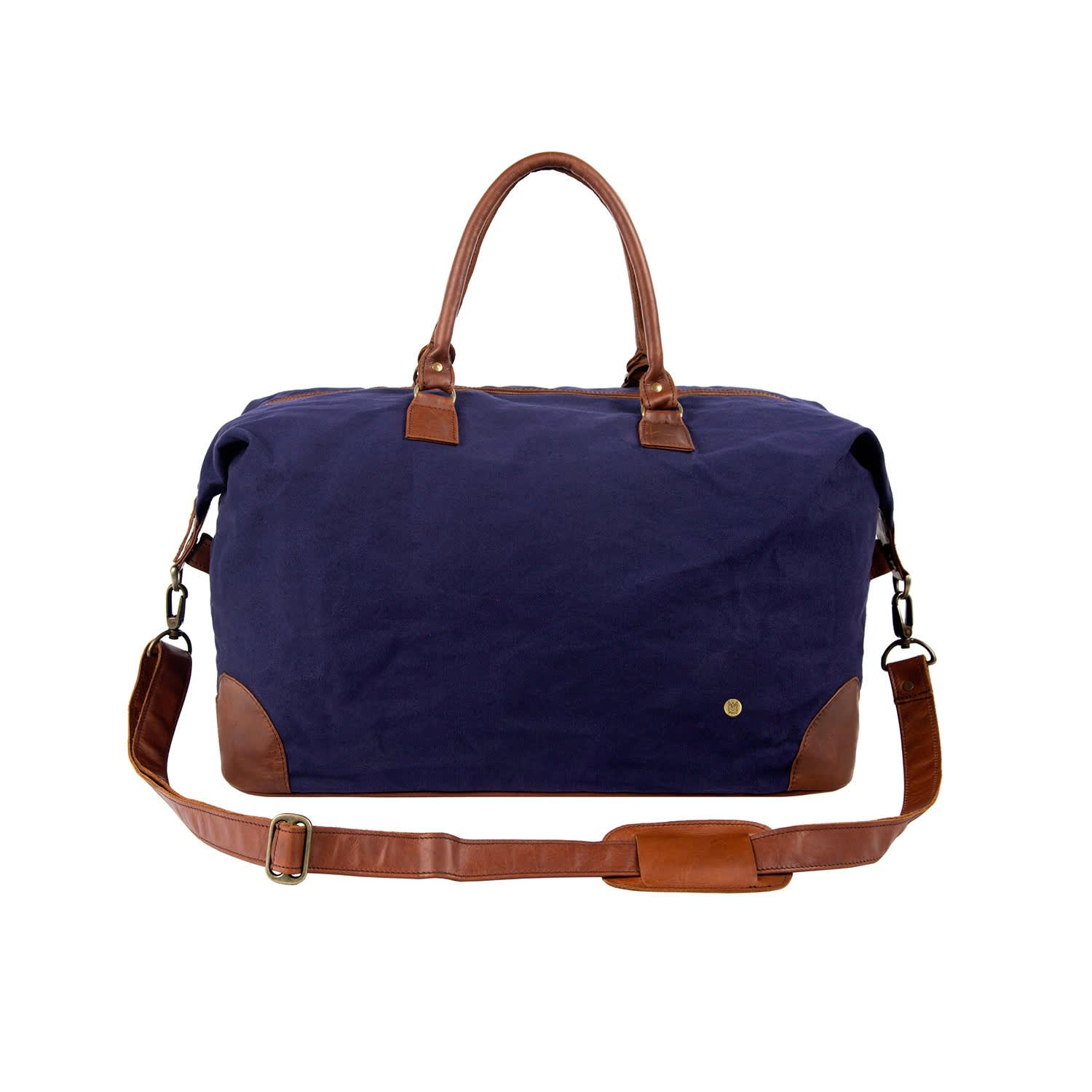 ba90732a7c64 Classic Travel Bag In Navy Canvas & Brown Leather by MAHI Leather