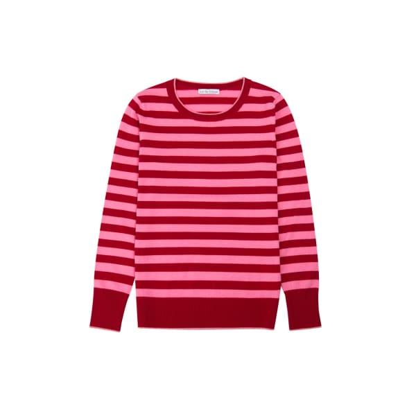 ILLE DE COCOS Merino Stripe Sweater Cherry Red & Flamingo Pink
