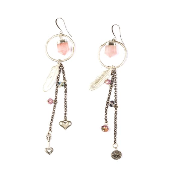 TIANA JEWEL Holly Rose Quartz Hoop Tassel Charm Earrings in Purple