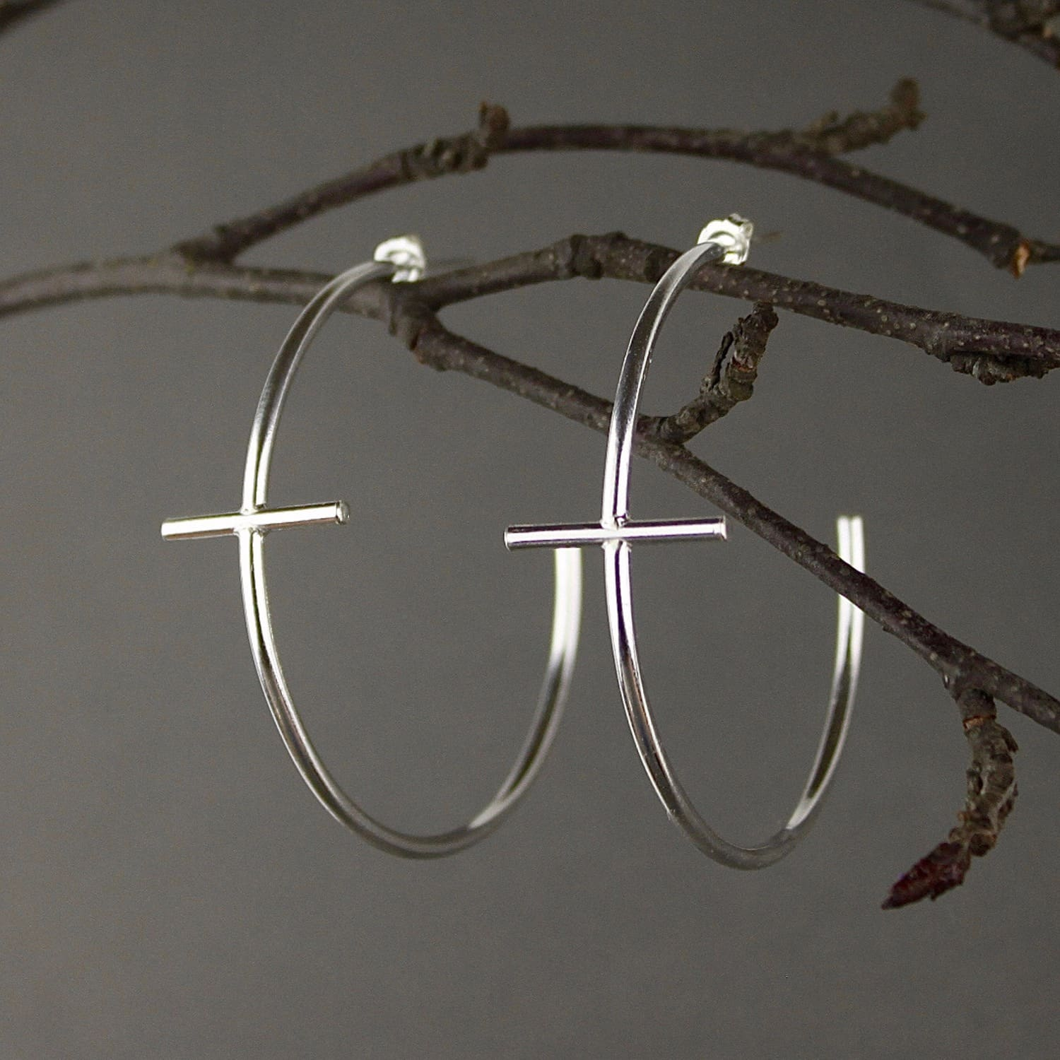 8e9d17d9a Large Silver Cross Hoop Earrings - Best All Earring Photos ...