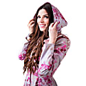 Romantic Pink Floral Waterproof Coat With Shoulder Frills: Sensual Pink image