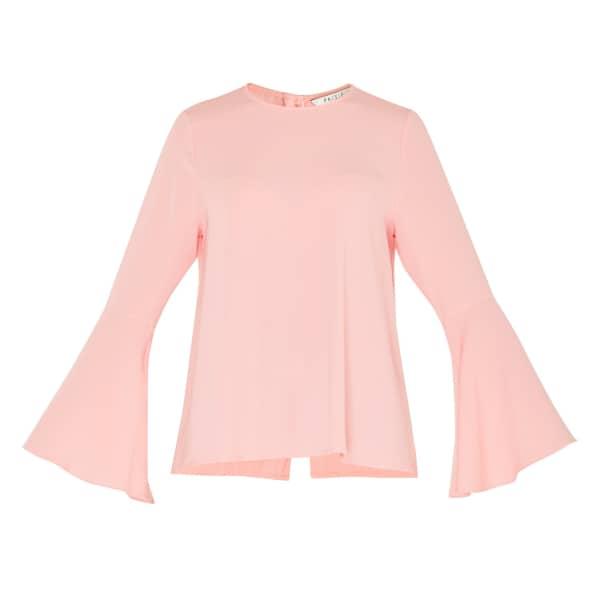 PAISIE Round Neck Top with Flared Cuffs in Pink