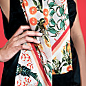 Pineapple & Prawns Pink Double Sided Skinny Silk Scarf With Fringing image