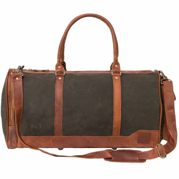 MAHI LEATHER Canvas Leather Columbus Holdall/Duffle Weekend/Overnight Bag in Forest Green