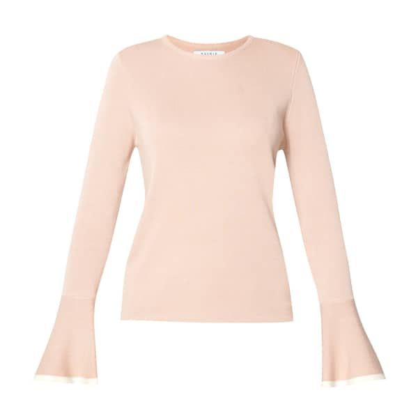 PAISIE Round Neck Top With Fluted Sleeves & Contrast Edge In Blush & White