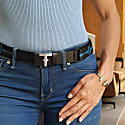 Recycled Web Nylon & Black Leather Women's Belt- Uniko Silver image