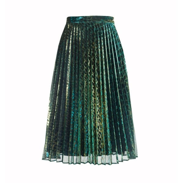 Lola Pleated Midi Skirt In Green Chameleon by Diana Arno