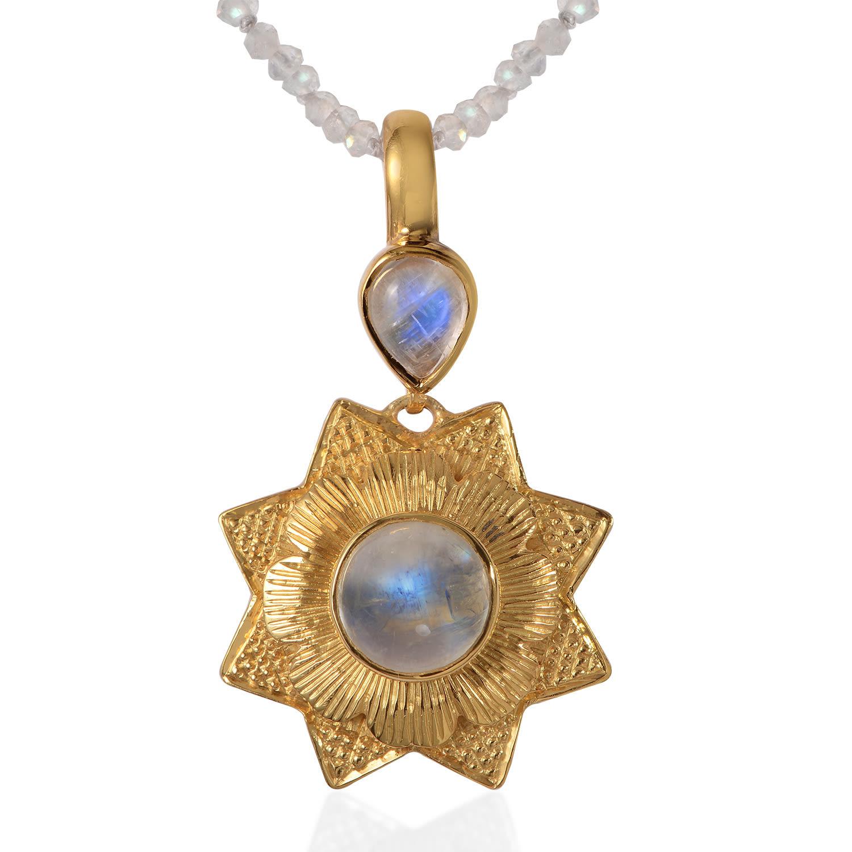 Moonstone and Iolite Triple Gem 925 Sterling Silver Pendant Corona Sun Jewelry