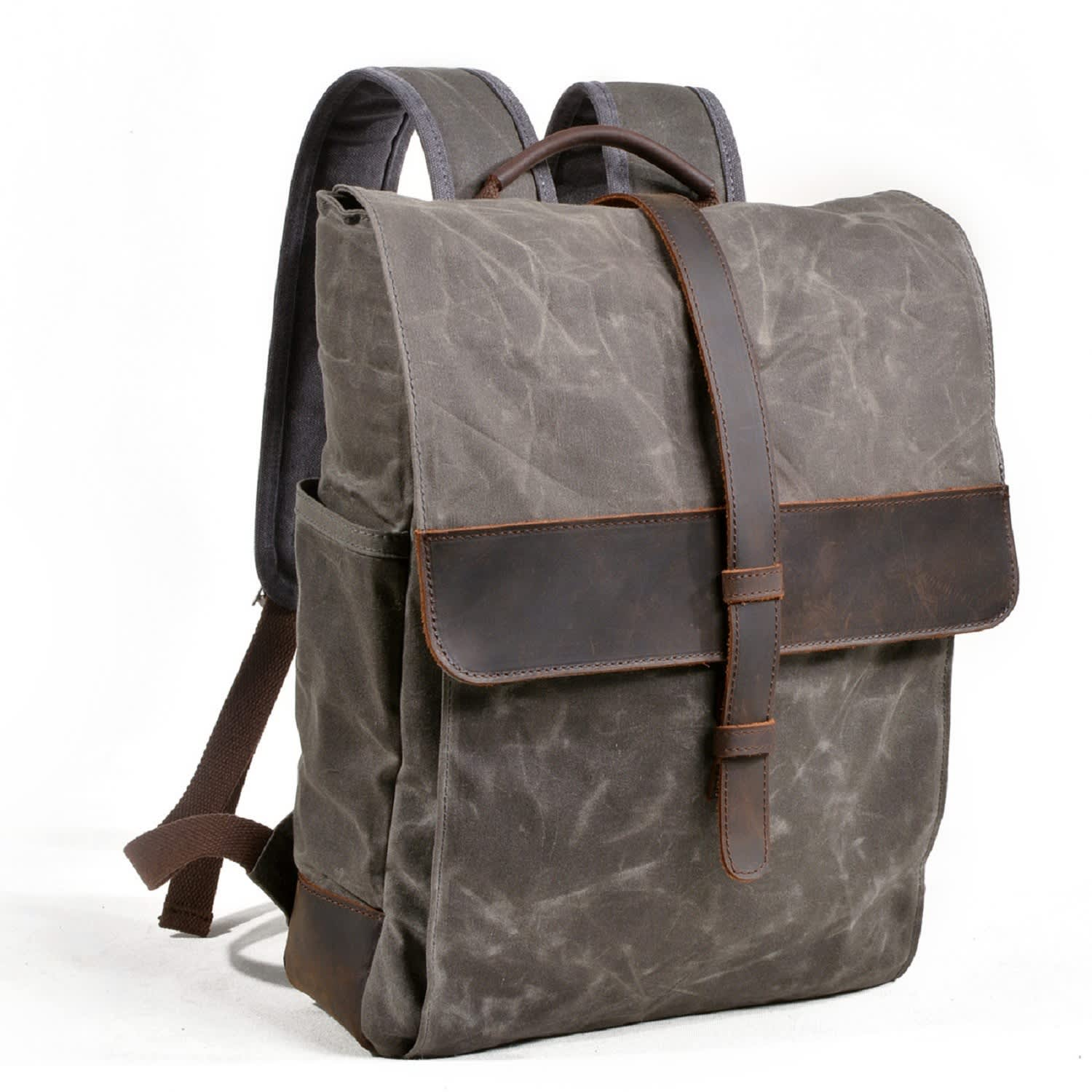 4b8d57c7b Front Leather Strap Waxed Canvas Backpack In Green | EAZO | Wolf ...