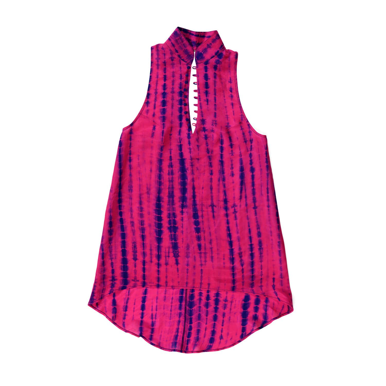 Dyed amp; Top Hand Tie Fuchsia Wolf Silk Kaftan Pink Glam Rock Neon f54w5Cq