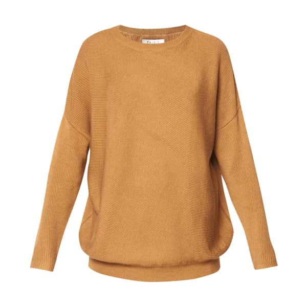 PAISIE Round Neck Knitted Top With Diagonal Ribbed Detail In Camel