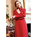 Shay Red Hand-Crafted Long Sleeve Backless Midi Dress image