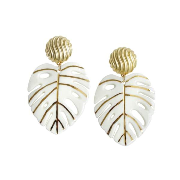 POPORCELAIN Golden Monstera Leaf Statement Earrings
