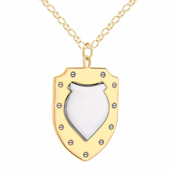 True Rocks Two Tone Gold and Silver Vintage Style Large Shield Pendant