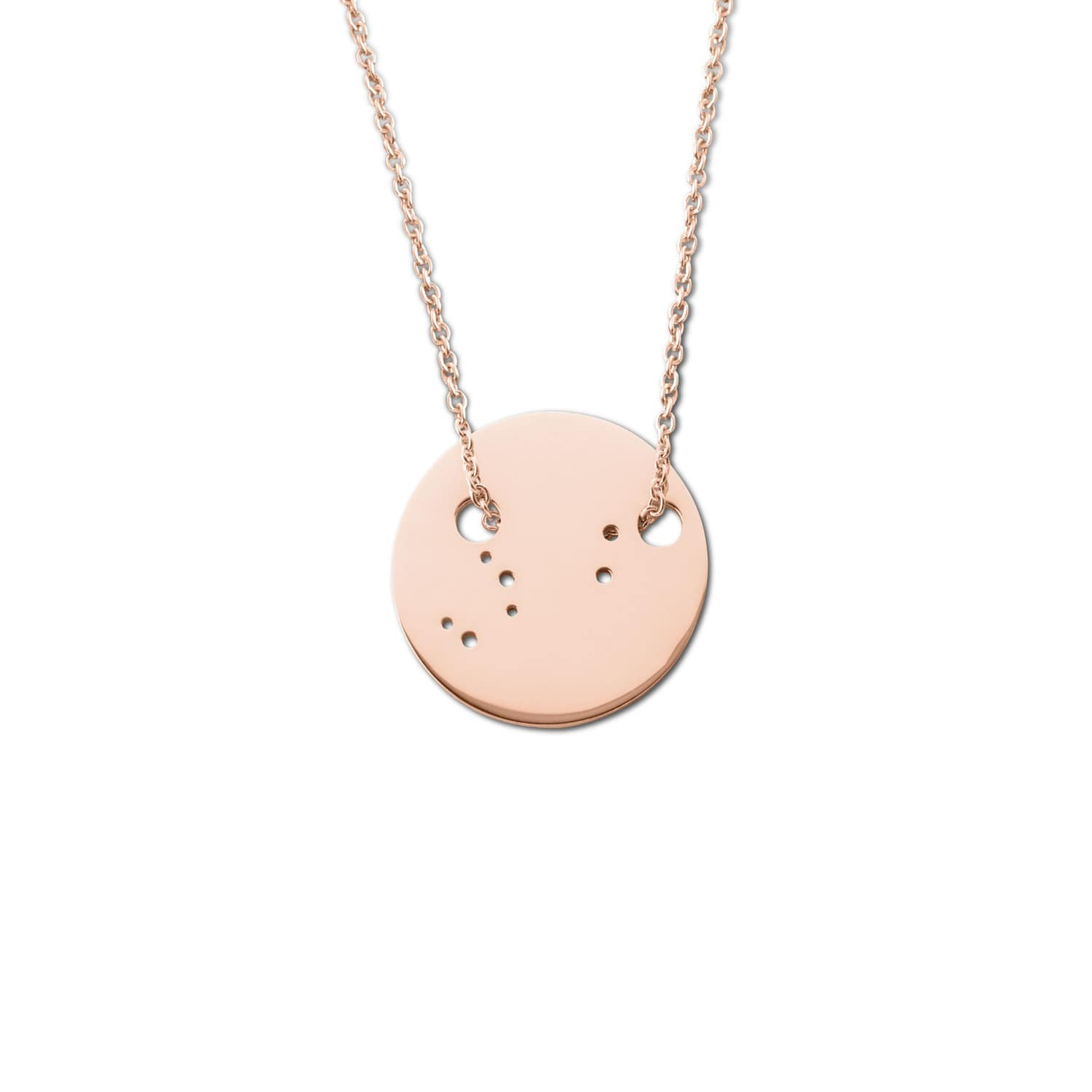Leo Zodiac Necklace Shiny Rose Gold Ekria Wolf Badger