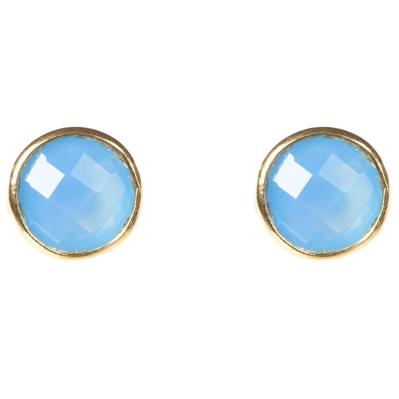 ba9975166 Medium Circle Stud Earring Blue Chalcedony Gold | LATELITA | Wolf ...