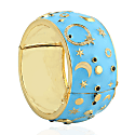 18Kt Yellow Gold Diamond Moon & Star Enamel Bangle Silver Gift Jewelry For Valentine image